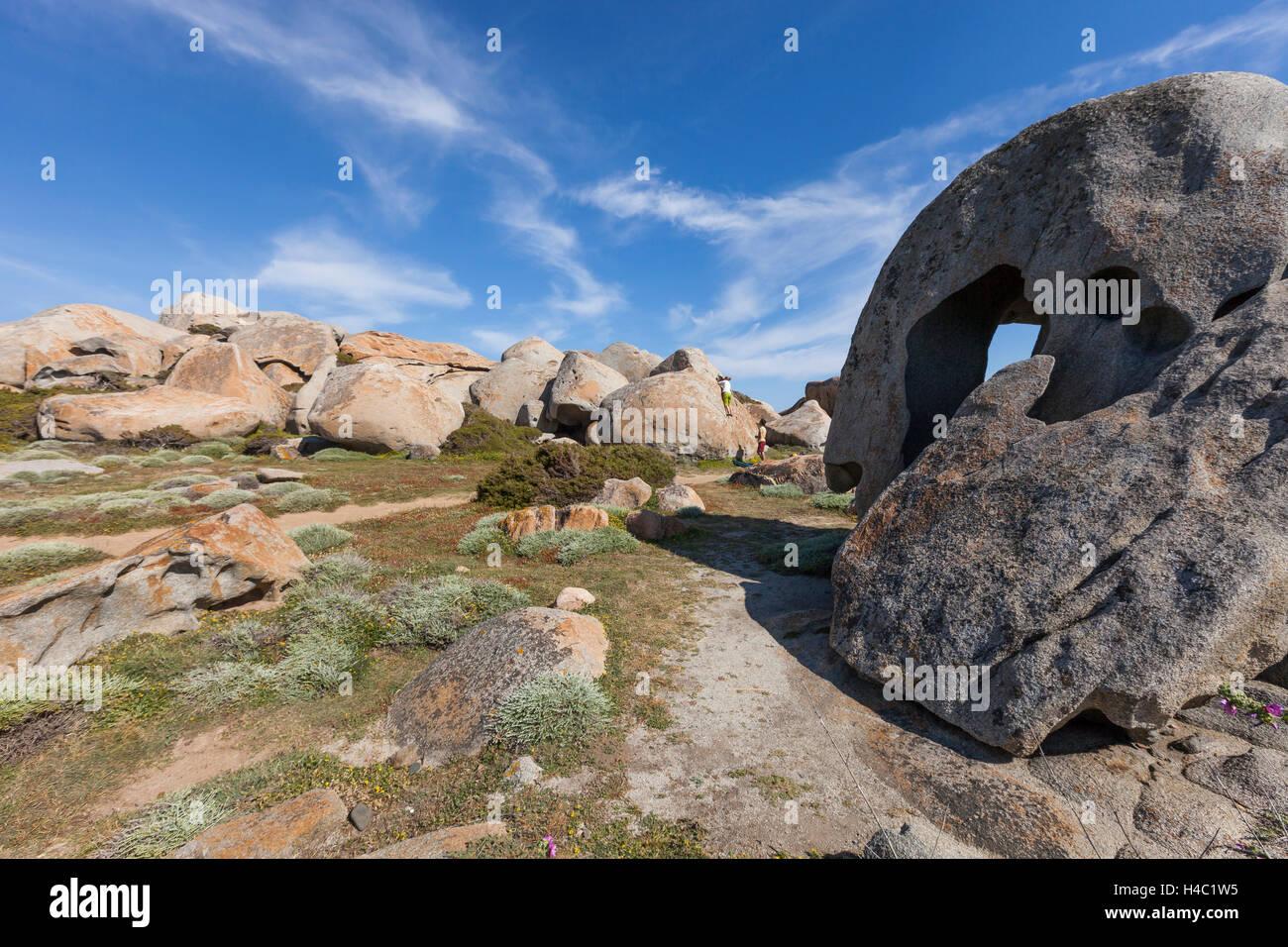 Europa, Frankreich, Korsika, Bouldern in Capineru Stockbild