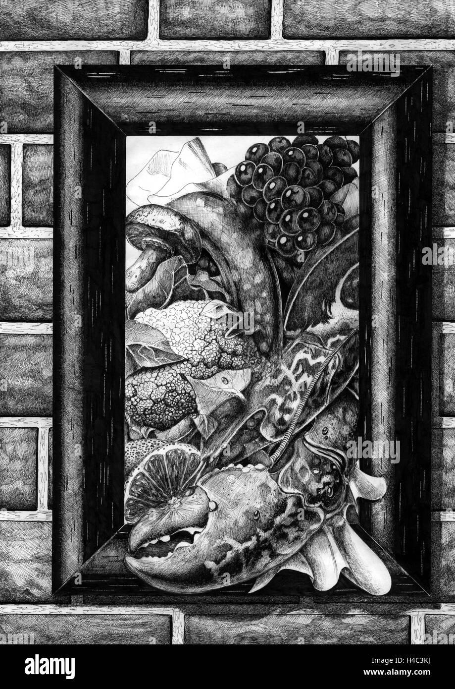 Malerei mit Hummer, Pilzen, Trauben und Gemüse Stockfoto, Bild ...