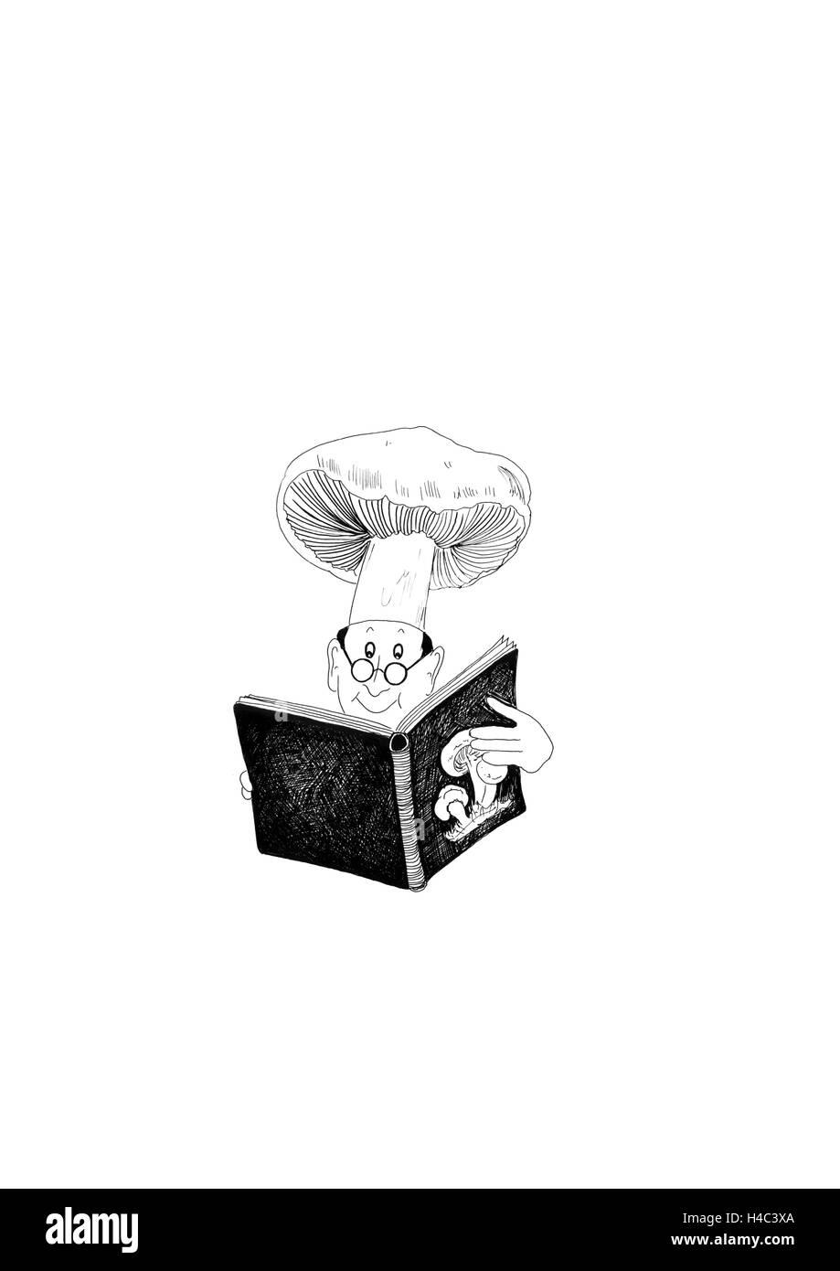 Kochen Rezepte lesen Stockbild