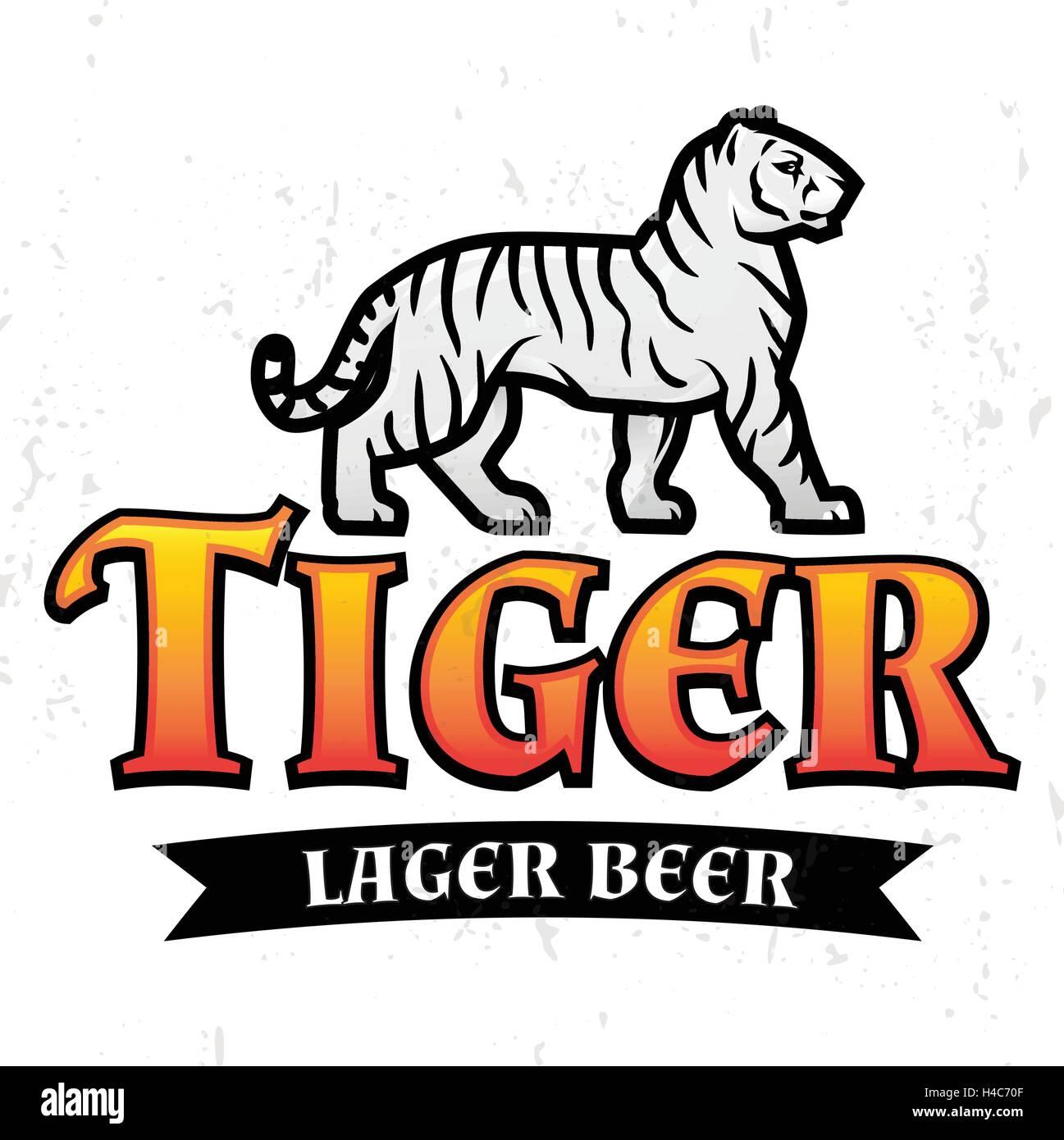 Bengal Tiger Beer Logo Vektor. Lager-Label-Design-Vorlage. Predator ...