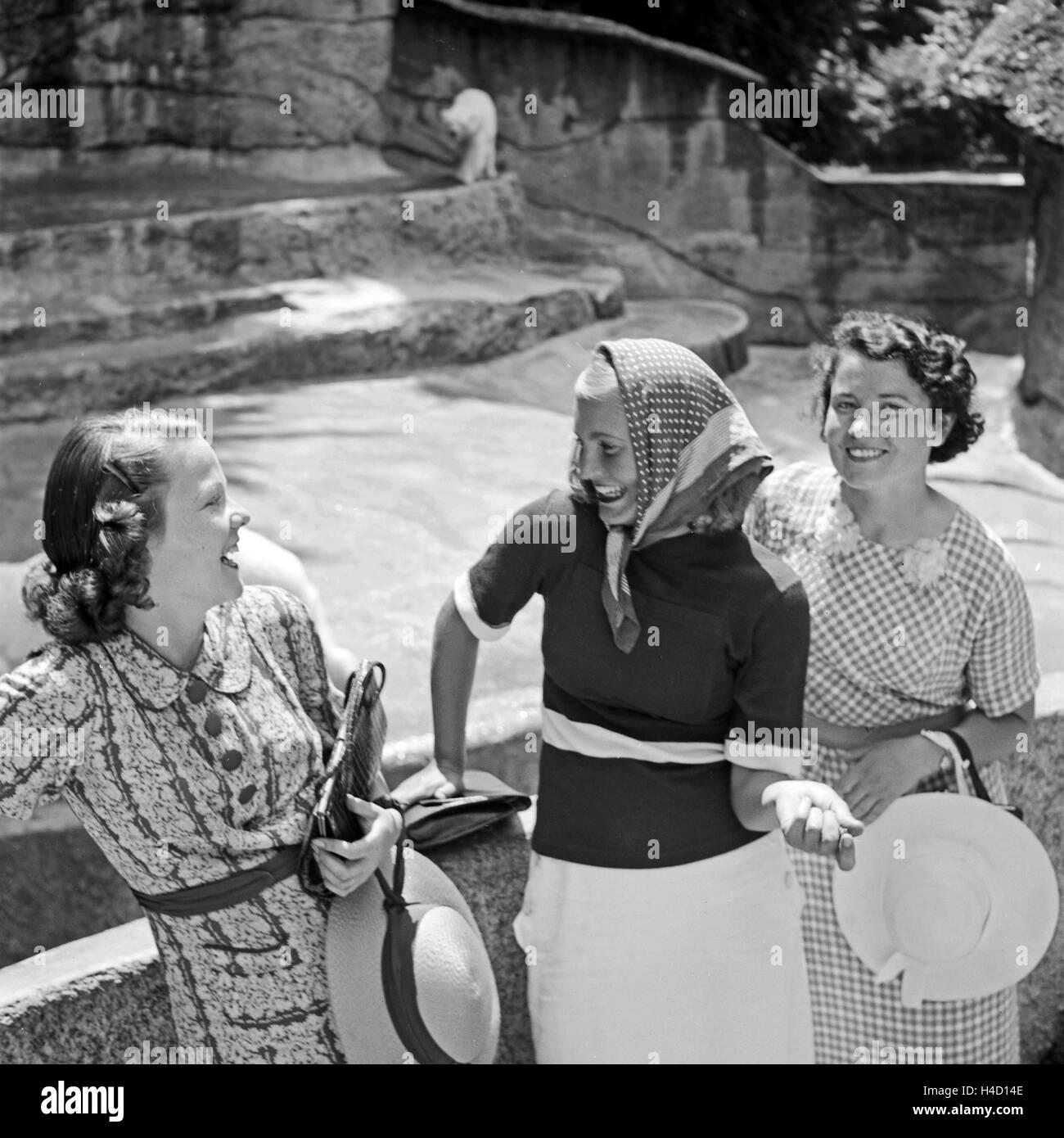 Drei Junge Frauen Stehen Beim Zoobesuich bin Eisbärgehege, 1930er Jahre Deutschland. Drei junge Frau besuchen Stockbild