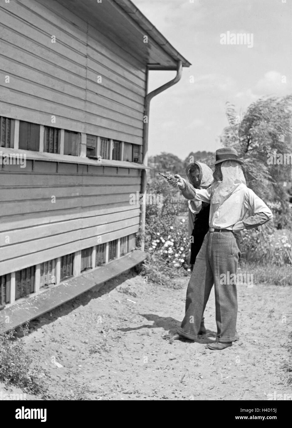 Zwei Imker Stehen in Schutzkleidung Vor Dachmarke Bienenstock, 1930er Jahre Deutschland. Zwei Imker in Protectitve Stockbild