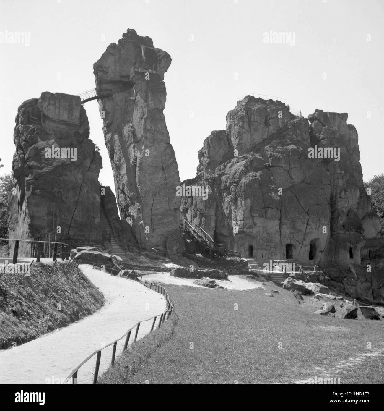 Sterben Sie Externsteine Bei Horn Im Teutoburger Wald, Deutschland 1930er Jahre. Externsteine-Rock-Formation in Stockbild
