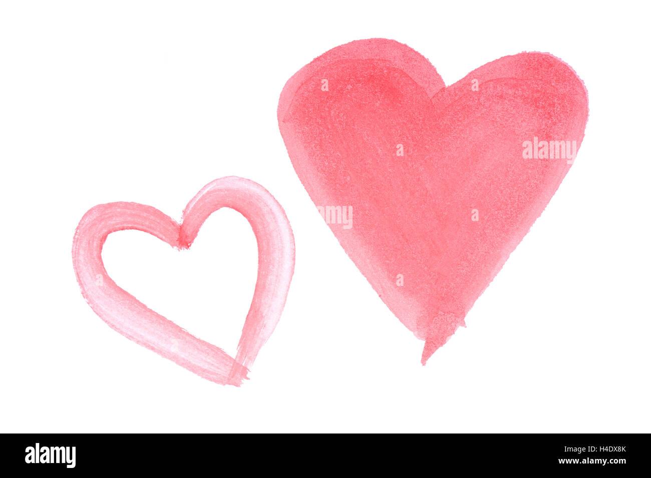 zwei handbemalte rote Aquarelle Herzen isoliert auf weißem Hintergrund Stockbild