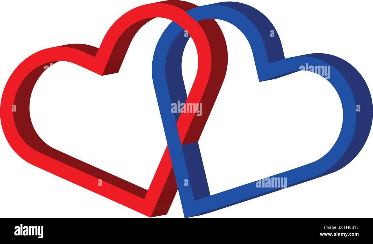 Zwei Herzen Verknüpft Zwei Herzen Liebe Herzen Vektor Abbildung