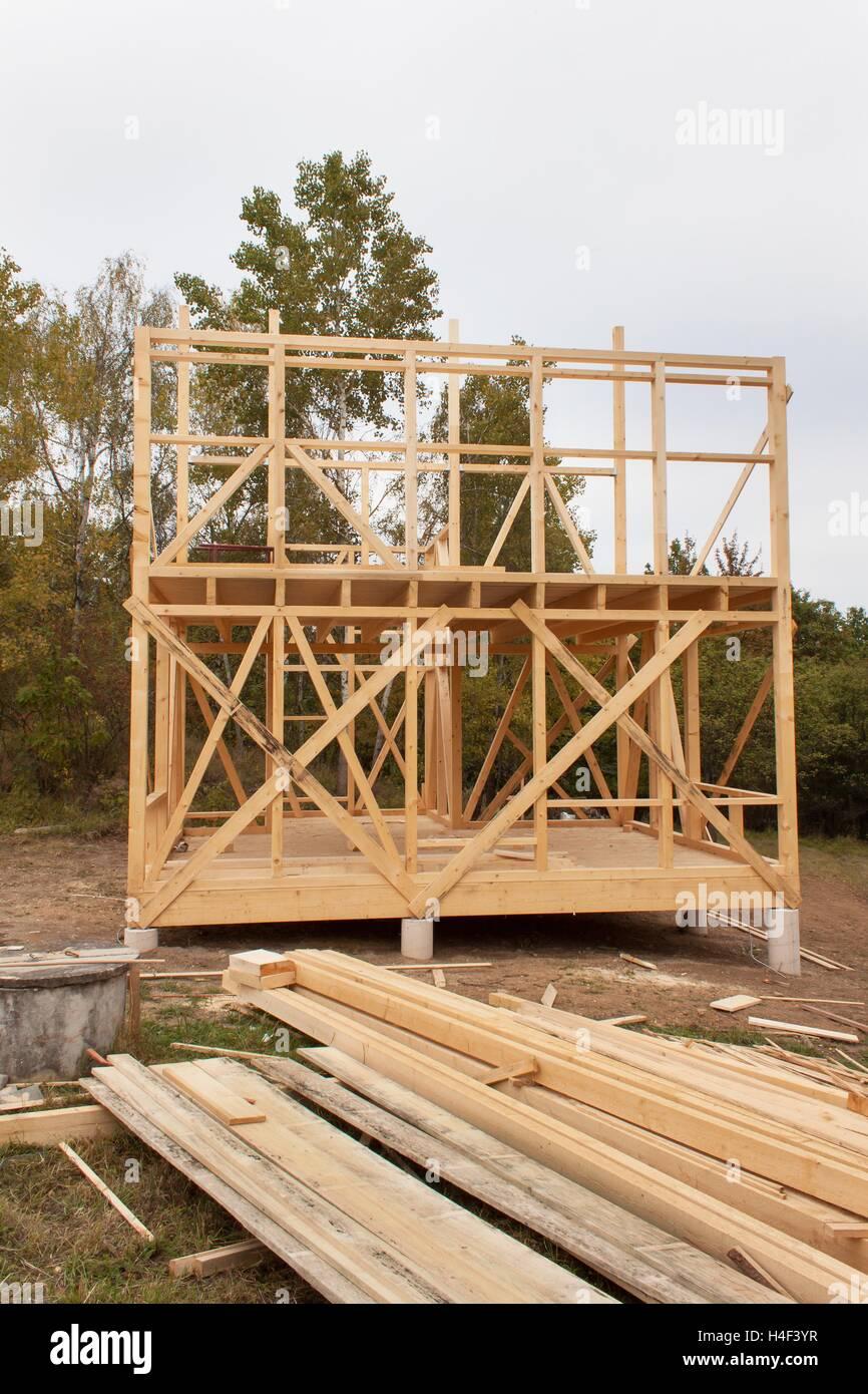 Delightful Verregneten Herbsttag Auf Der Baustelle. Bau Eines Holzhauses Im Wald. Bau  Des Hauses.