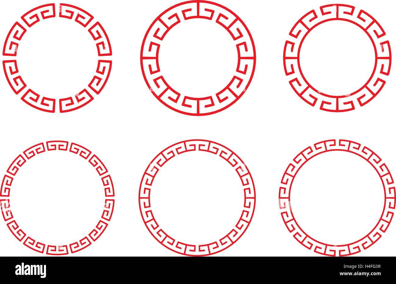 Klassische chinesische roter Kreis Fenster und Foto Rahmen, Vektor ...