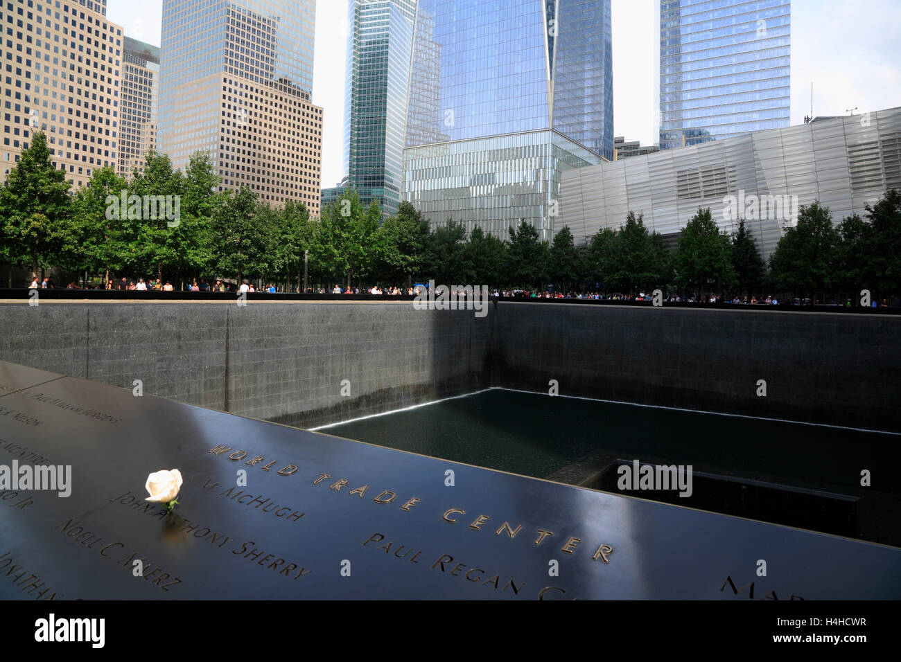 9/11 Memorial Pool, Lower Manhattan, New York, USA Stockbild