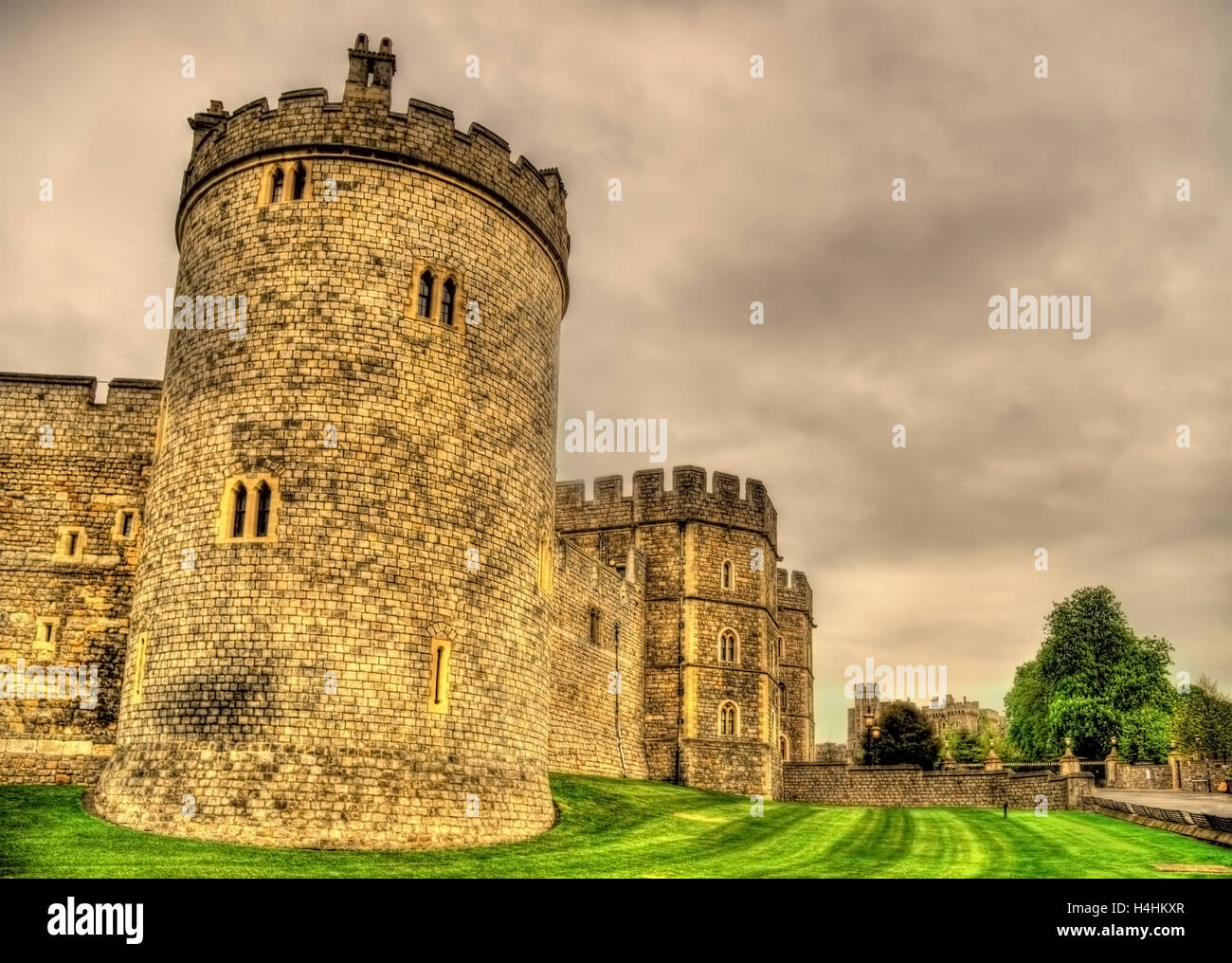 Türme von Windsor Castle in der Nähe von London, England Stockbild