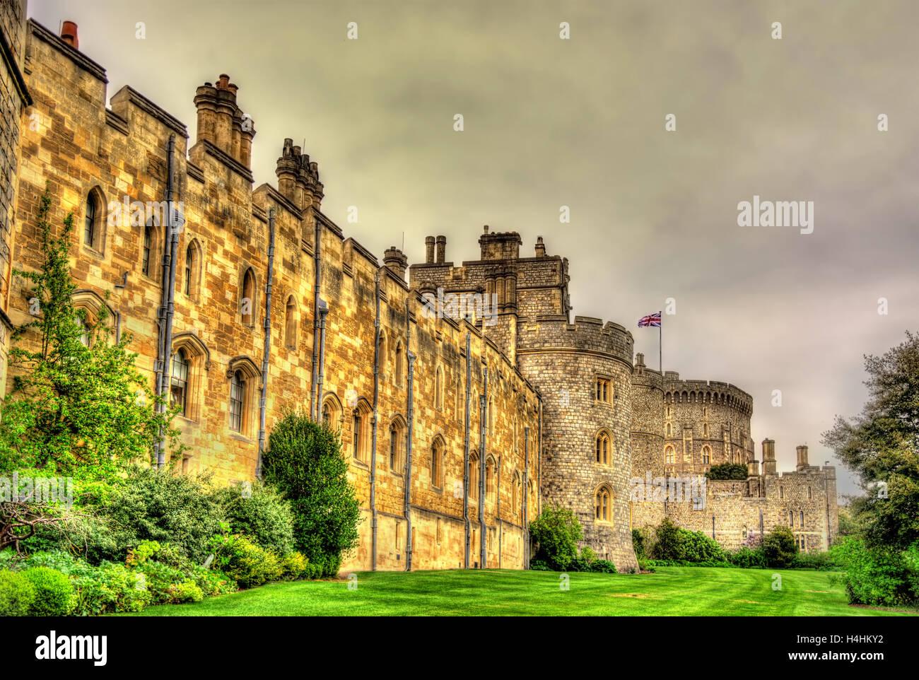 Mauern von Schloss Windsor in der Nähe von London, England Stockbild