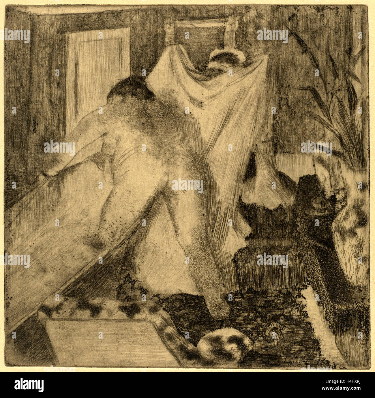 Edgar Degas, verlassen das Bad (La Sortie du Bain), Französisch, 1834-1917,  c. 1879-1880, elektrische Farbstift, Radierung, Kaltnadelradierung