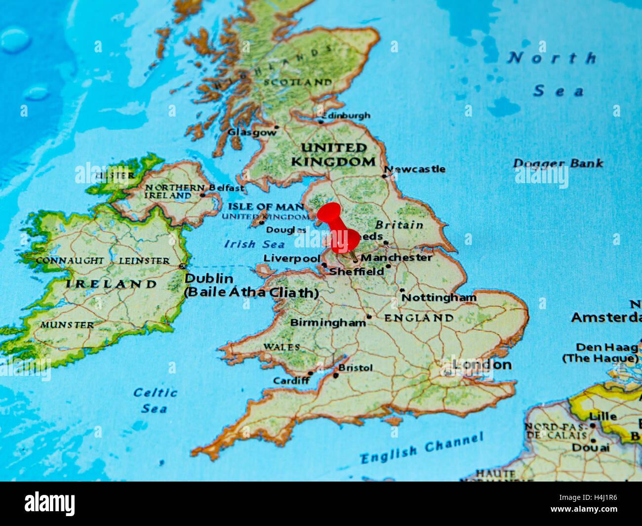 manchester karte Manchester, Großbritannien fixiert auf einer Karte von Europa