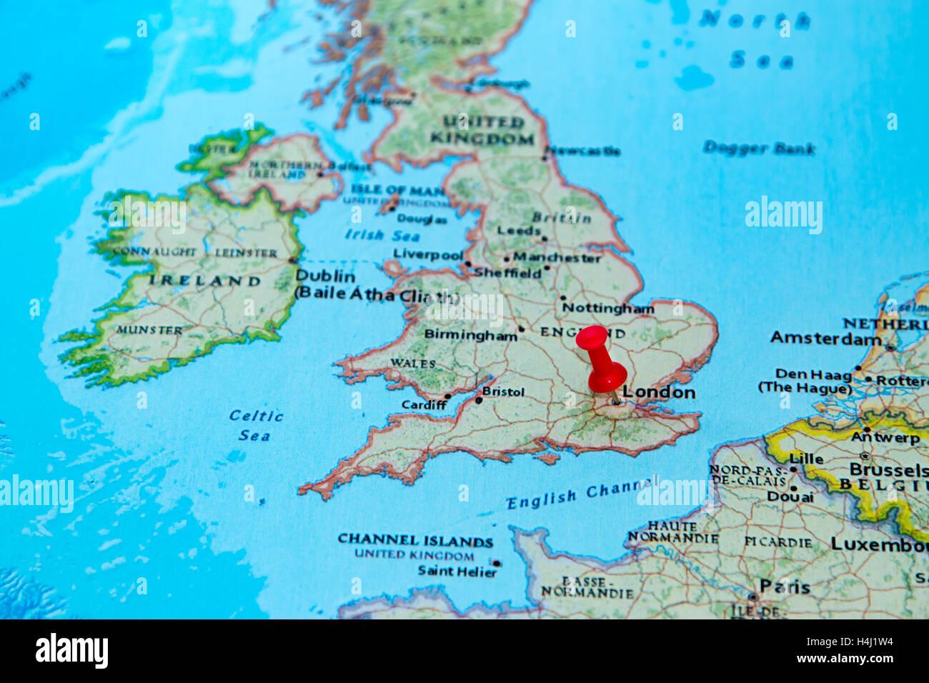 Karte London.London Vereinigtes Königreich Fixiert Auf Einer Karte Von Europa