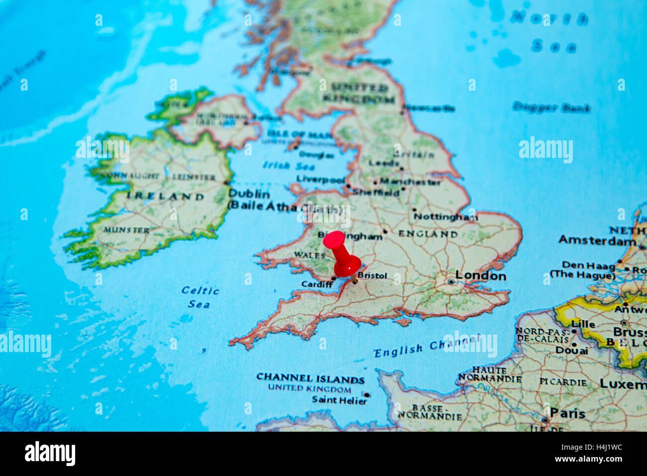 bristol karte Bristol, Großbritannien fixiert auf einer Karte von Europa
