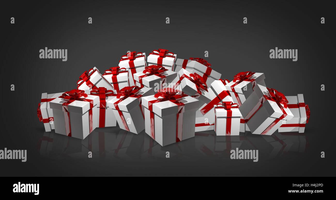 Weiße Weihnachtsgeschenke Mit Roten Schleifen 3D Rendern Stockbild