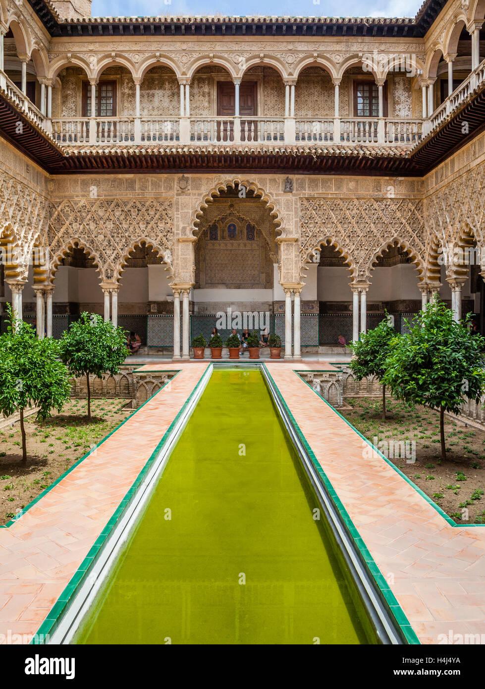 Spanien, Andalusien, Provinz Sevilla, Sevilla, Alcazar, Patio de Las Huasaco, Innenhof der Jungfrauen Stockbild