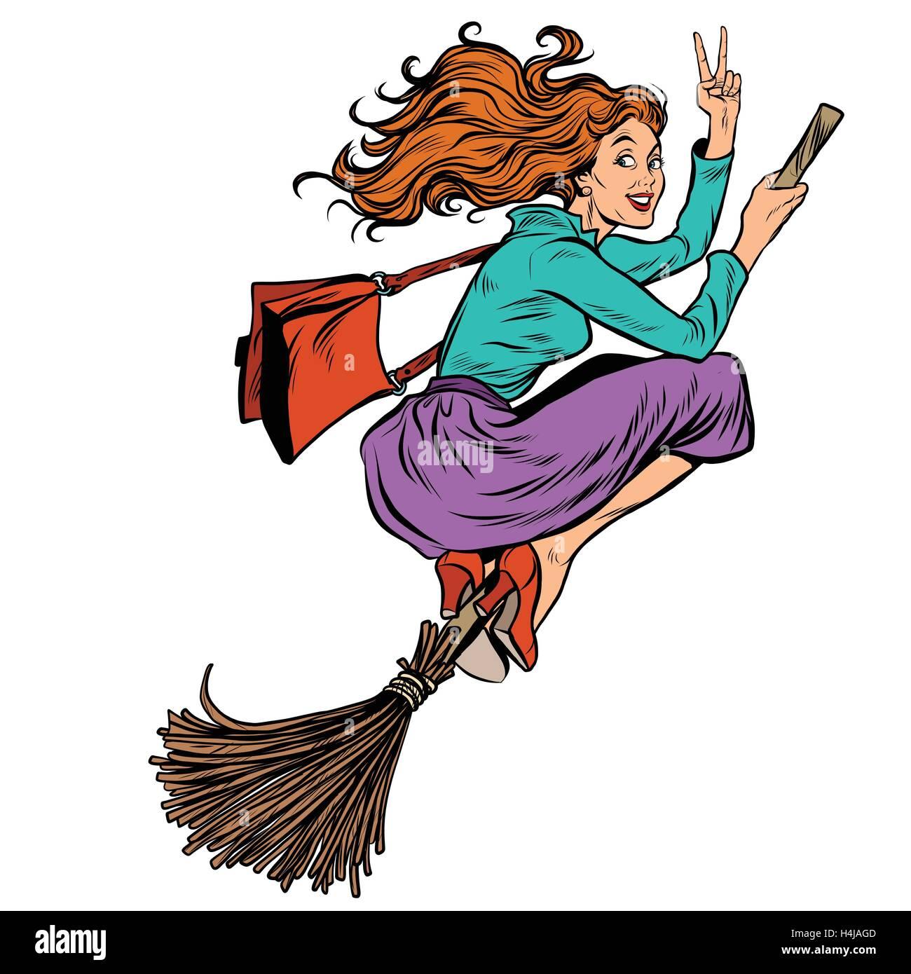 Schöne Frau Hexe auf einem Besen fliegen Stockbild