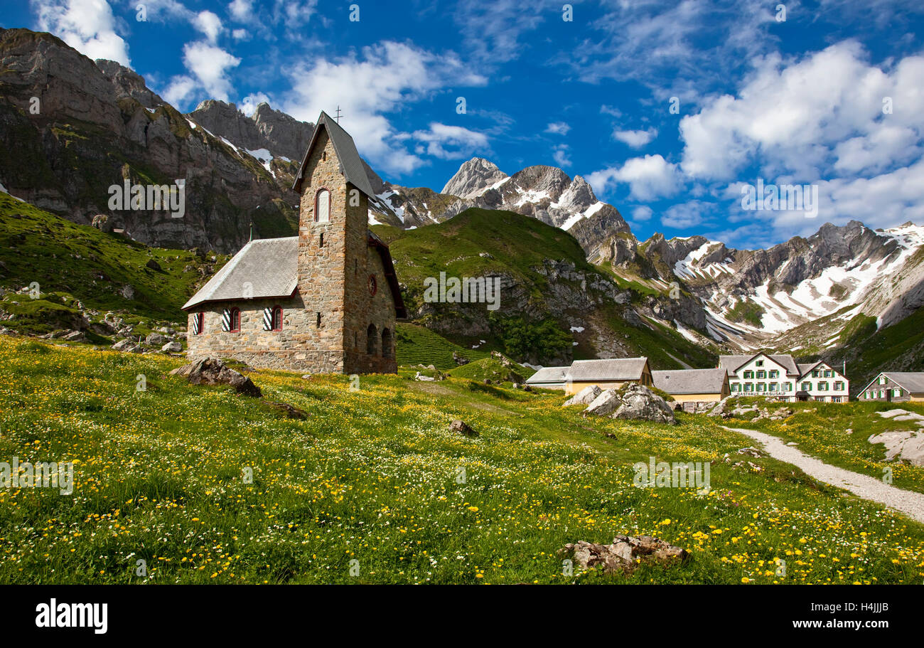 Meglisalp Sommer einzige Dorf im Appenzeller Alpen, Schweiz, Europa Stockbild