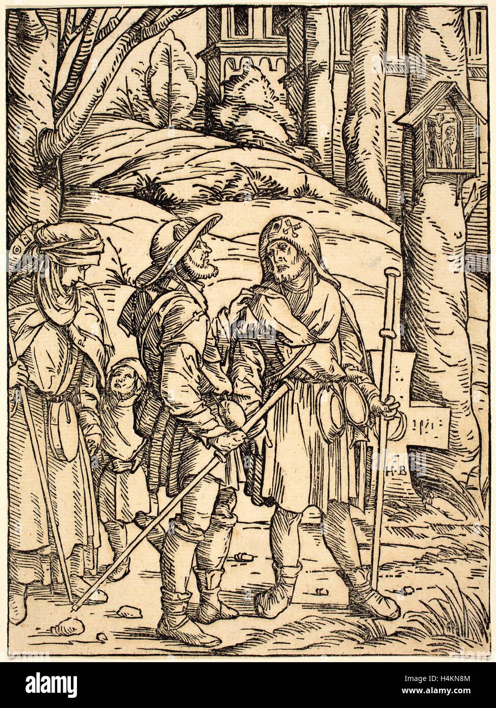 Hans Burgkmair ich (Deutsch, 1473-1531), Pilger an einem Bildstock, 1508, Holzschnitt in schwarz auf Bütten Stockfoto