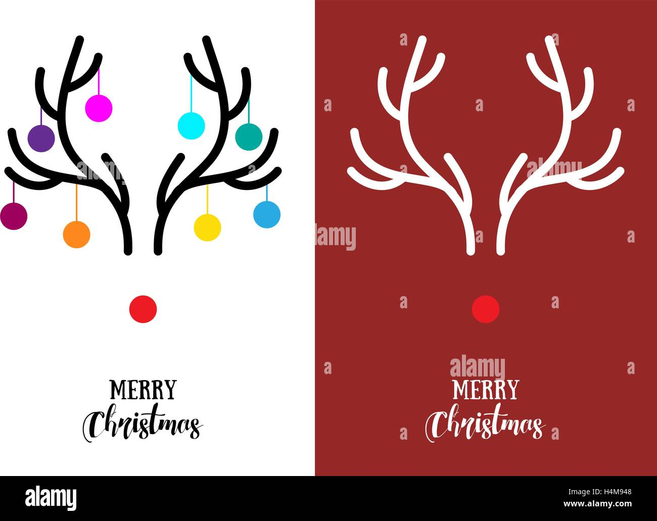 Moderne Weihnachtskarten.Schlichte Moderne Weihnachtskarten Mit Roter Nase Rentier