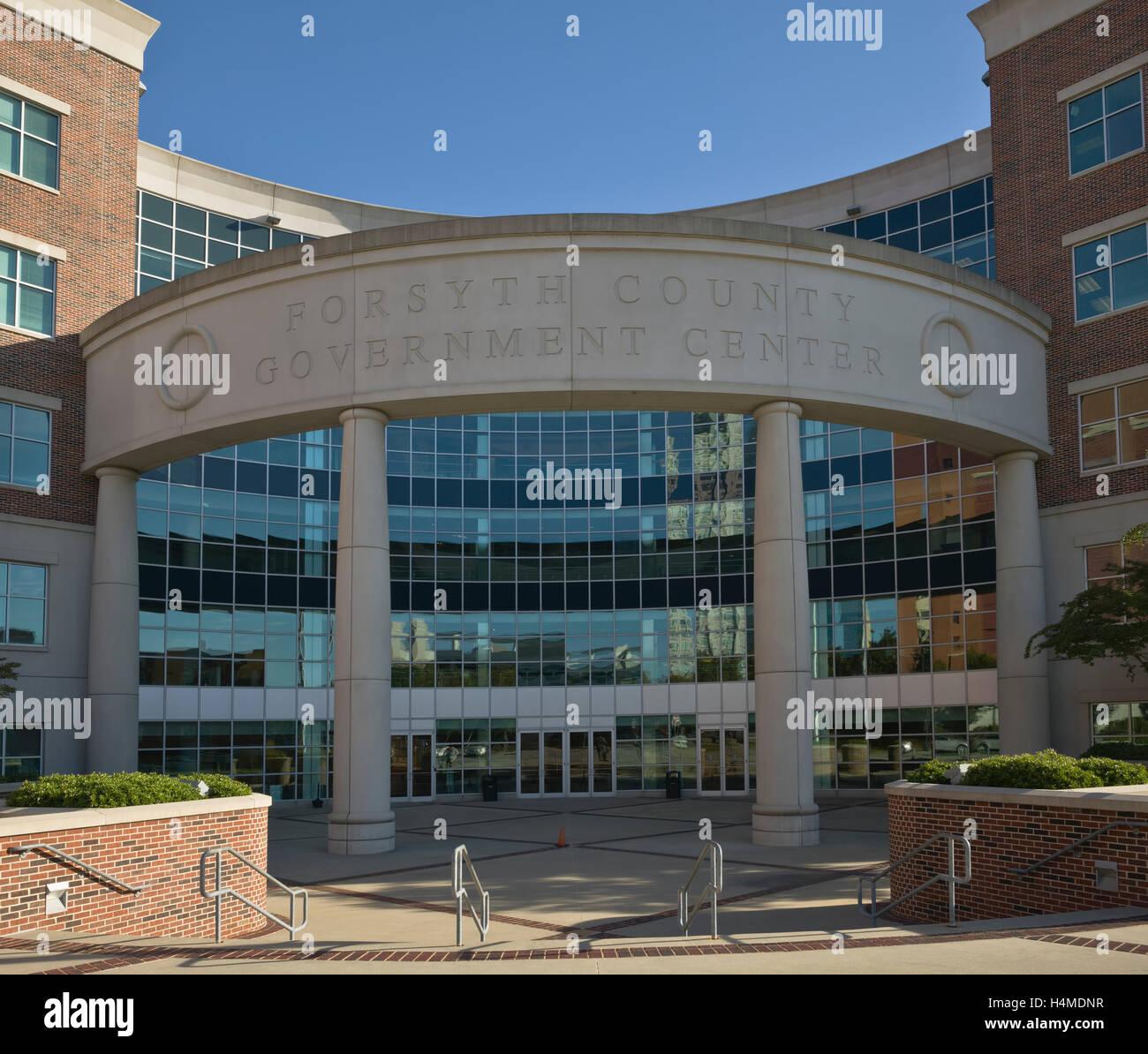 Forsyth County Government Center Gebäude vorderen Eingang Winston-Salem, North Carolina Stockbild