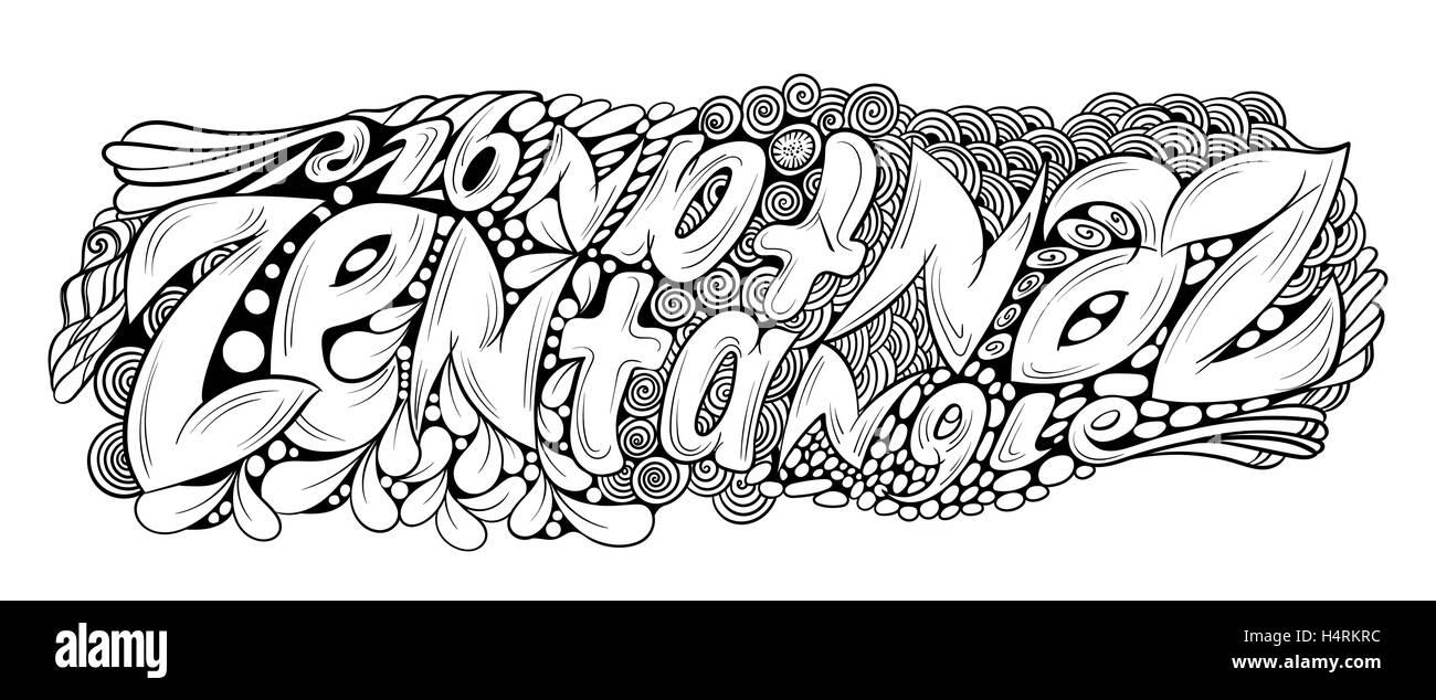 Vektor monochrome handgezeichneten Zentagle Text Illustration ...