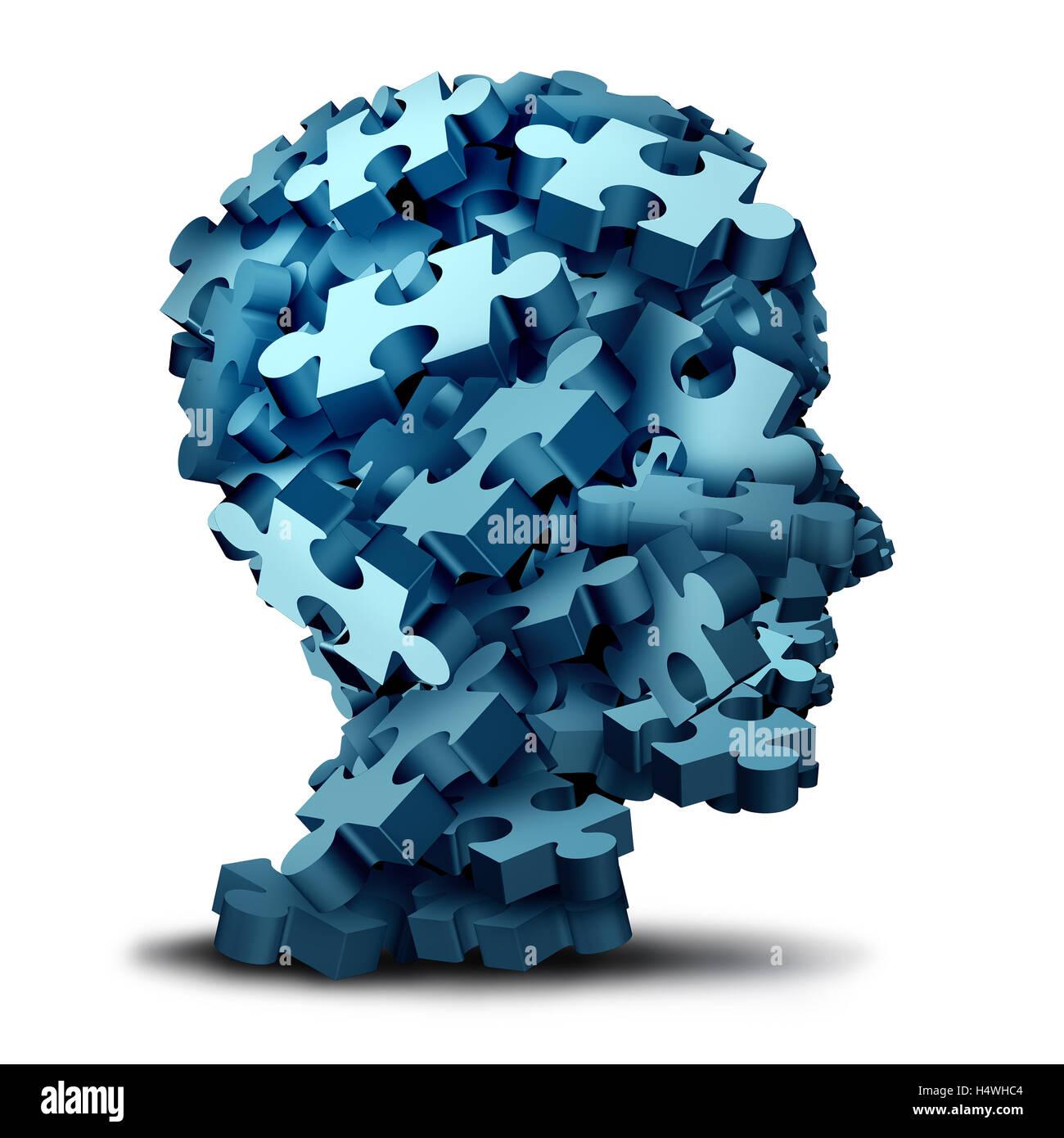 Psychologie-Puzzle-Konzept als eine eine Gruppe von 3D-Illustration Puzzleteile in Form eines menschlichen Kopfes als psychische Gesundheit Symbol für Psychiatrie und Psychologie und Hirnforschung Störung Symbol auf einem weißen Backbround. Stockfoto