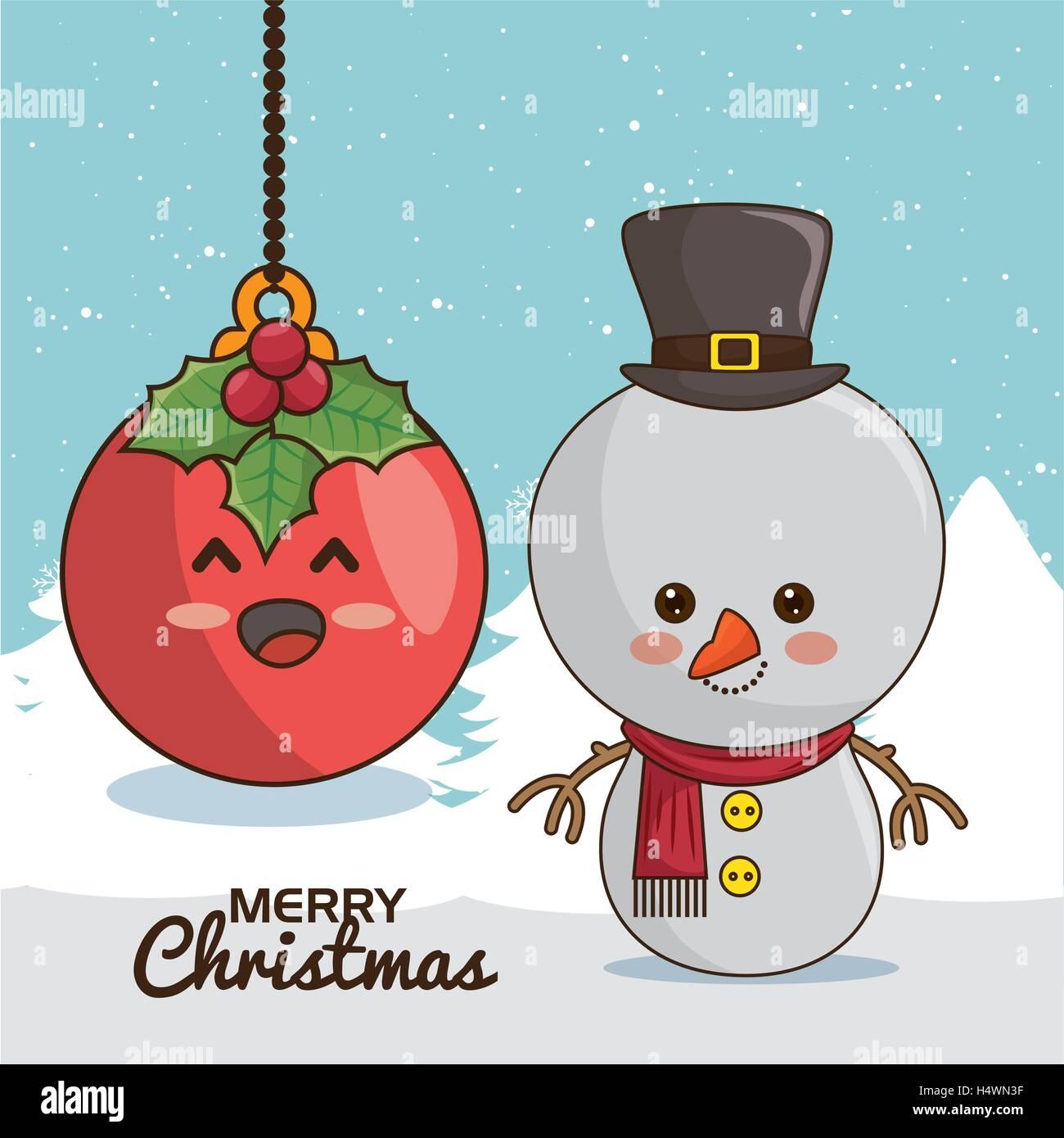 Frohe Weihnachten Zeichen Kawaii-Stil Vektor Abbildung - Bild ...