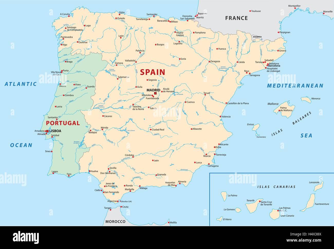Portugal Und Spanien Karte Vektor Abbildung Bild 123504554 Alamy