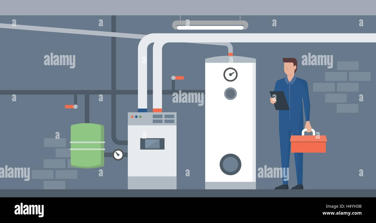 Heizung im Haus Keller, ist eine Plumbler Installation und ...