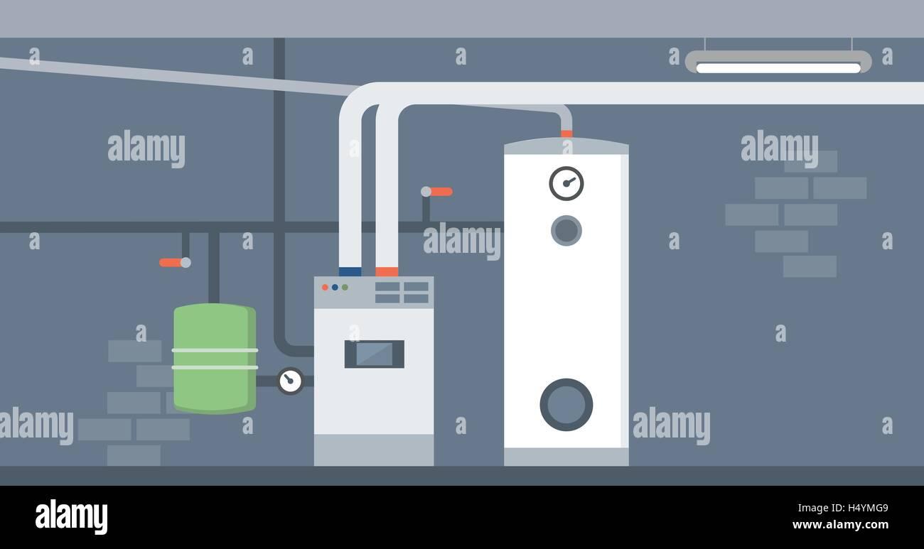 Kessel im Hause Keller, moderne energiesparende Heizung Vektor ...
