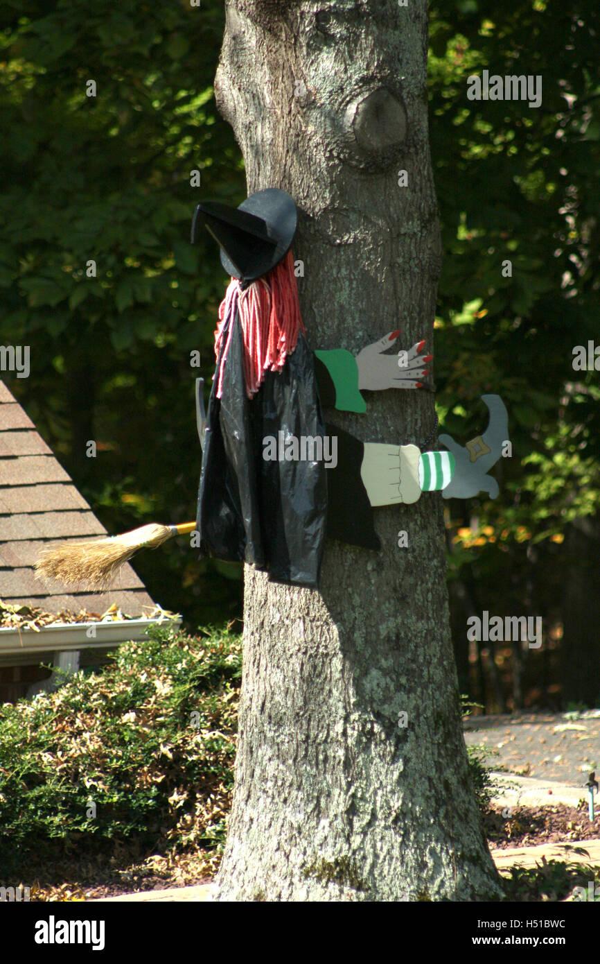 Komische Outdoor Halloween Dekoration Der Hexe In Einen Baum