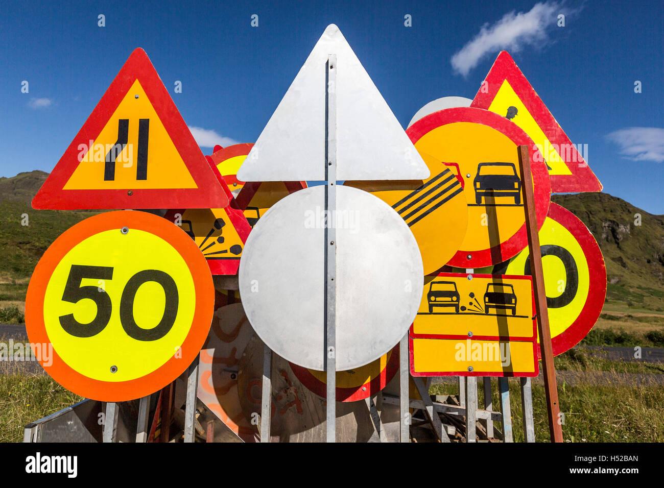 Verkehrszeichen, South Coast, Island Stockbild