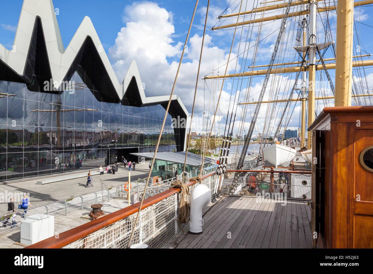 Die Riverside Museum für Verkehr und Reisen neben den River Clyde in Glasgow, Schottland, Vereinigtes Königreich Stockbild