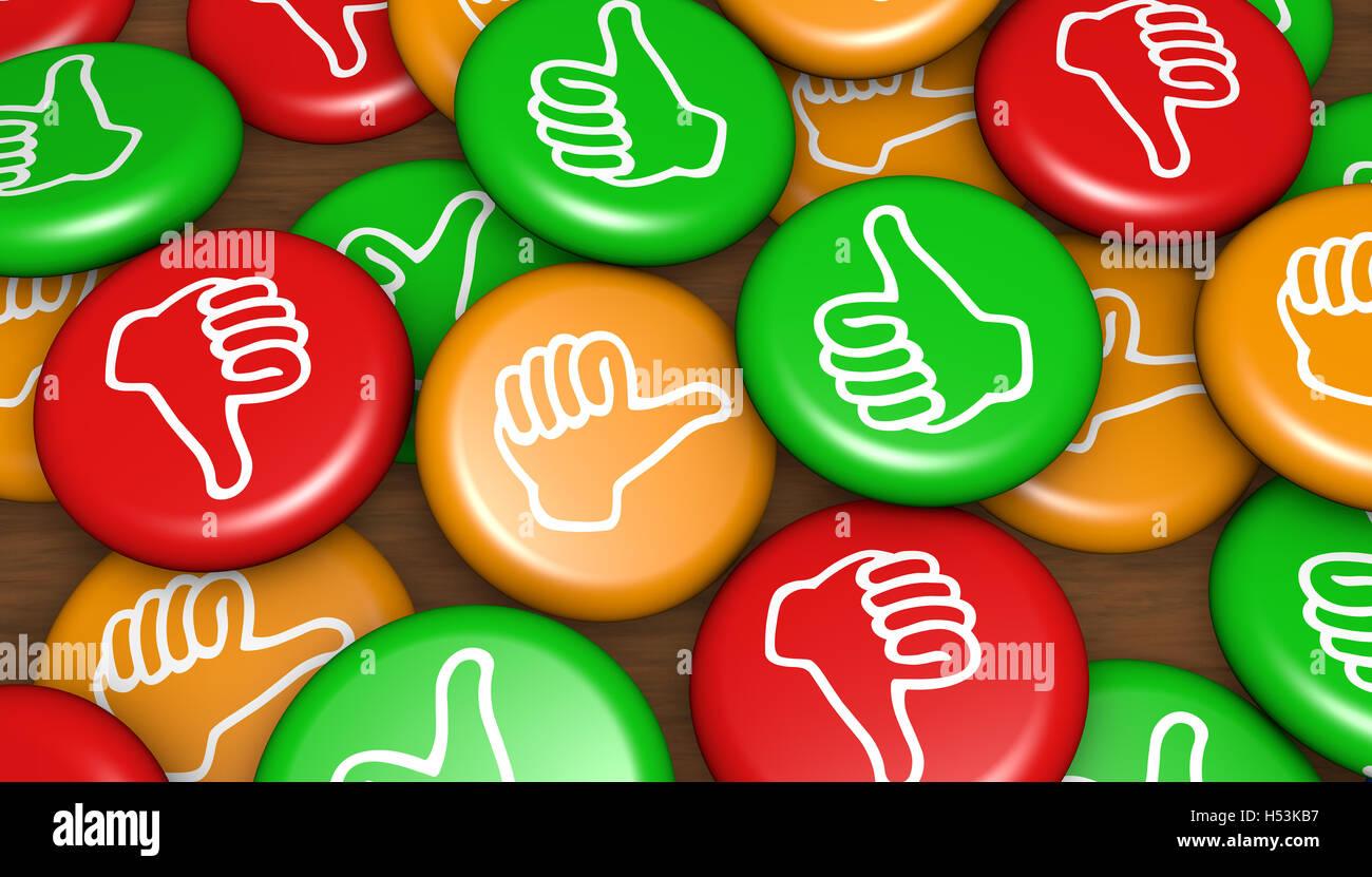 Feedback von Kundenzufriedenheit Abzeichen Geschäfts- und marketing-Konzept 3d Illustration. Stockbild
