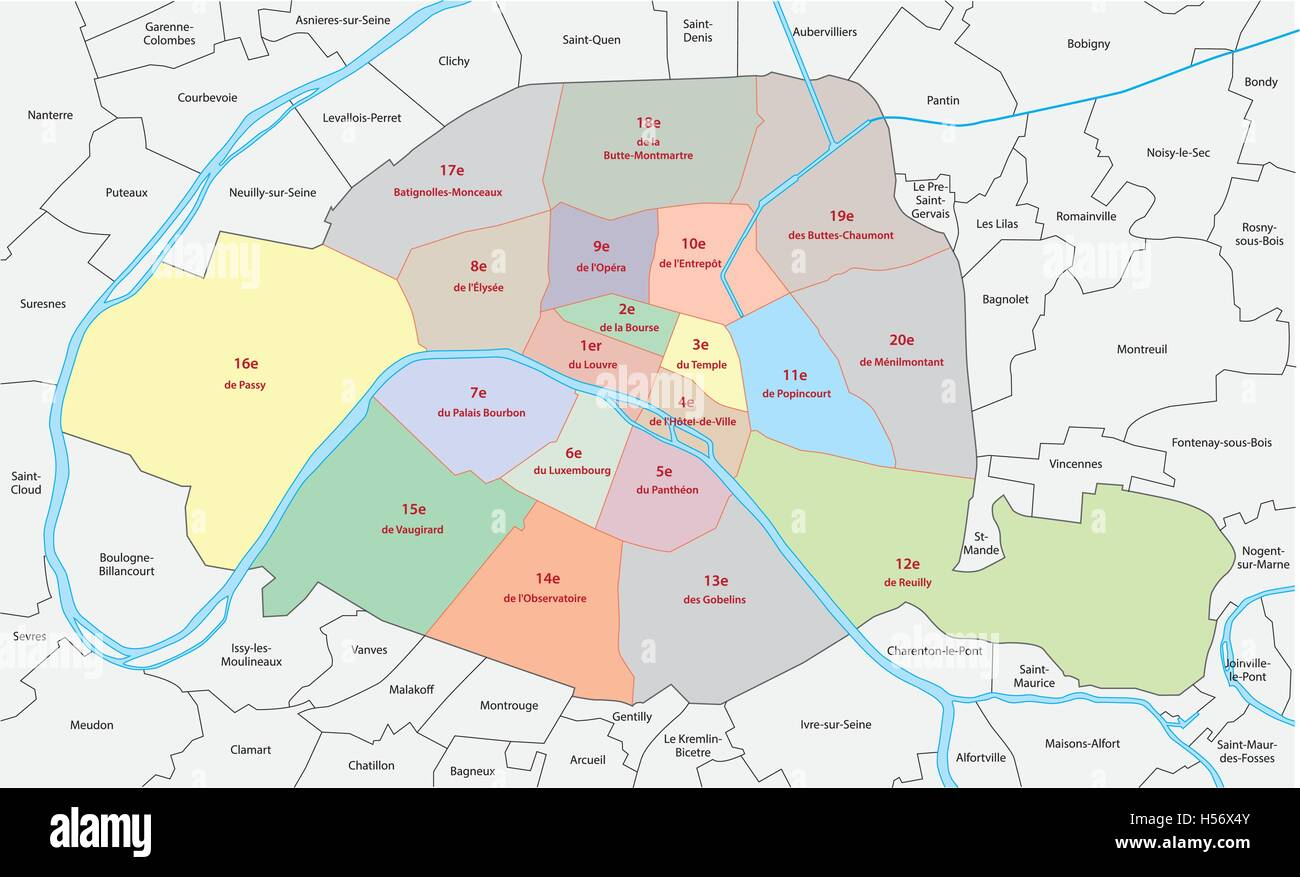 Paris Map District Stockfotos & Paris Map District Bilder ...