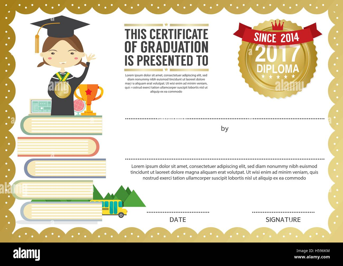 Vorschule Grundschule Kinder Diplom Zertifikat Hintergrund Design ...