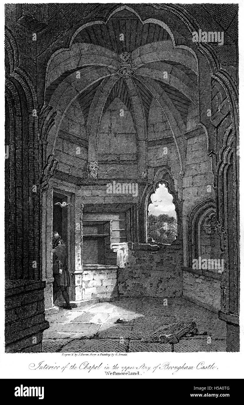 Gravur der Kapelle in Brougham Castle, Westmoreland (Longsleddale, Cumbria) mit hochauflösenden aus einem Buch Stockbild
