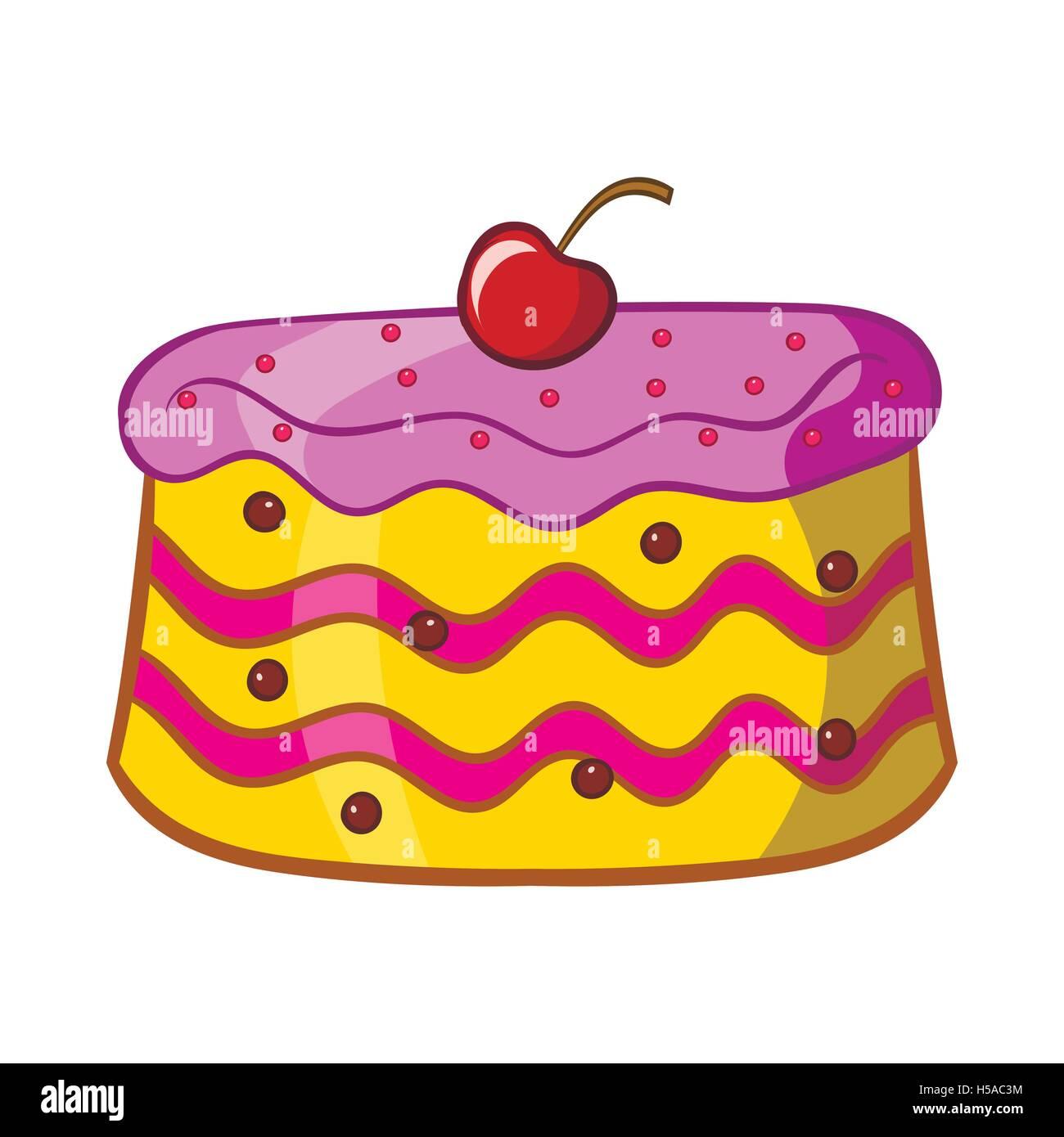 Kuchen Symbol Cartoon Stil Vektor Abbildung Bild 123774888 Alamy