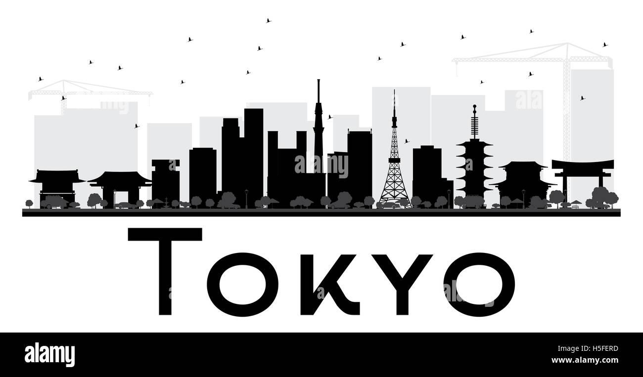 tokyo city skyline schwarz wei silhouette vektor illustration einfache flache konzept f r. Black Bedroom Furniture Sets. Home Design Ideas