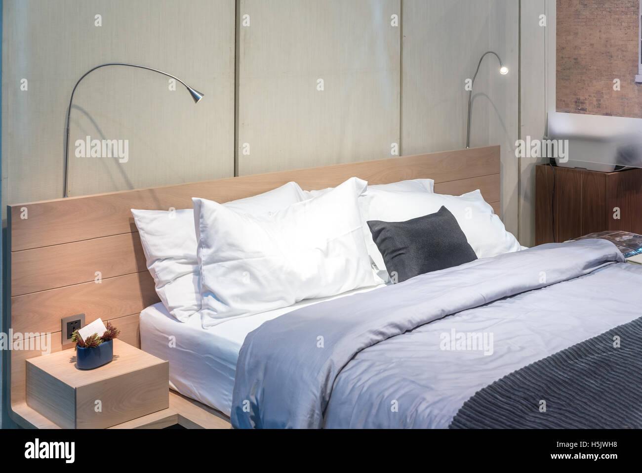 Schlafzimmer Innenraum Mit Bett Und Kissen Für Gemütliches Zuhause