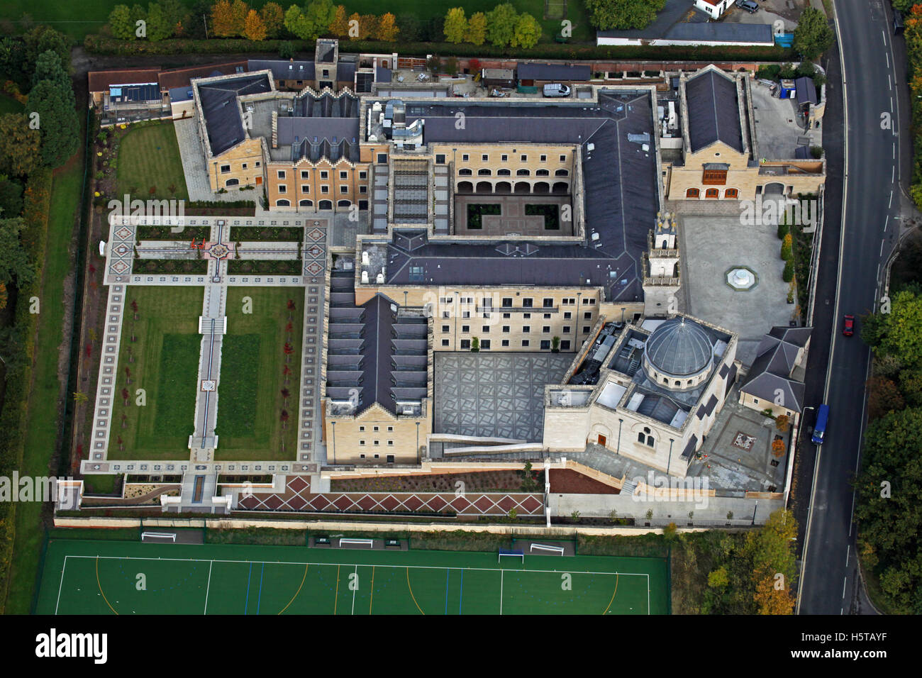 Luftaufnahme des Oxford Centre for Islamic Studies, UK Stockbild