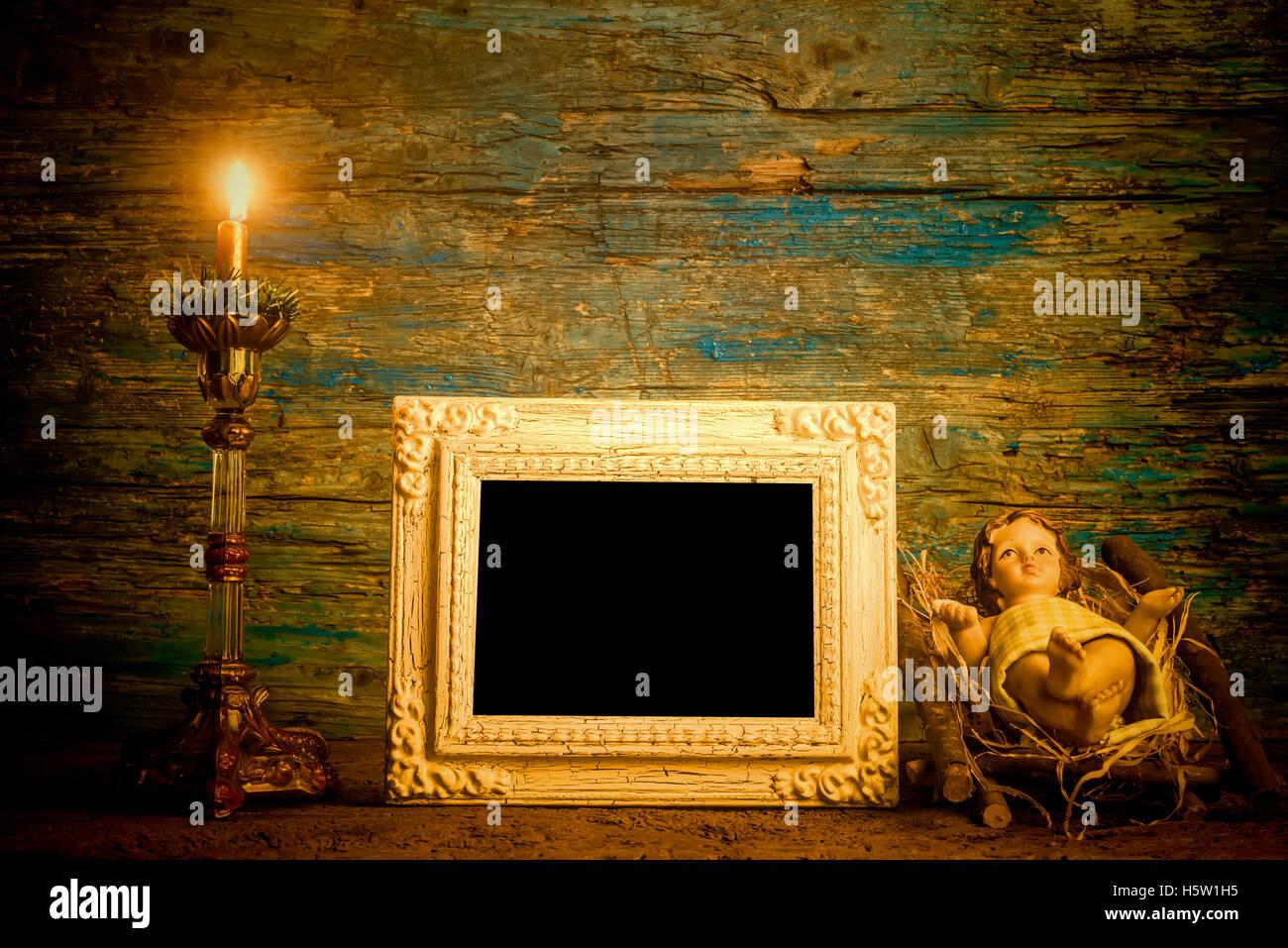 Weihnachten Foto Karte, Baby Jesus einrahmen und zündete die Kerze ...