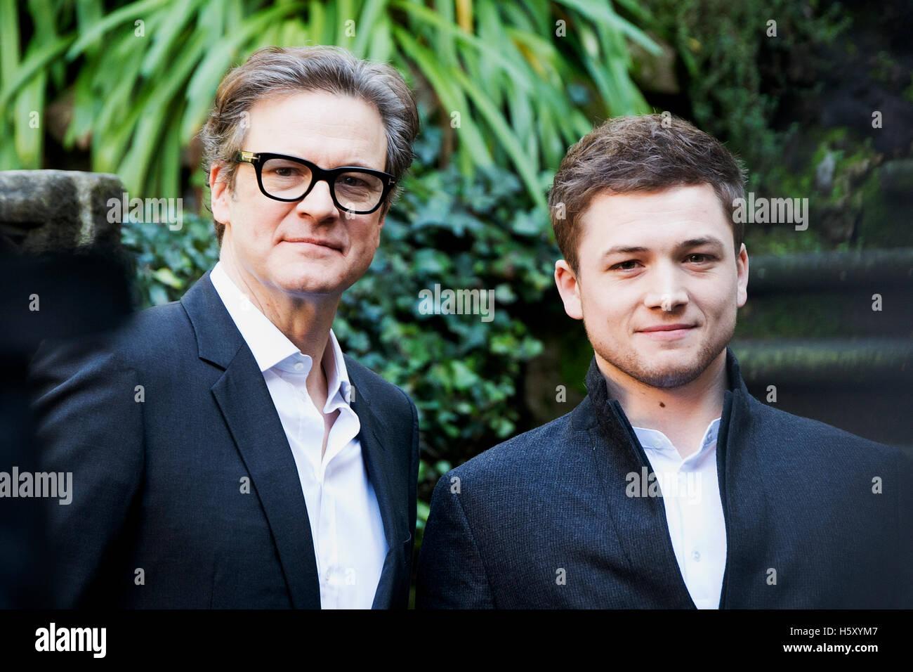Colin Firth und Taron Egerton während der Fototermin Kingsman in Rom Stockbild