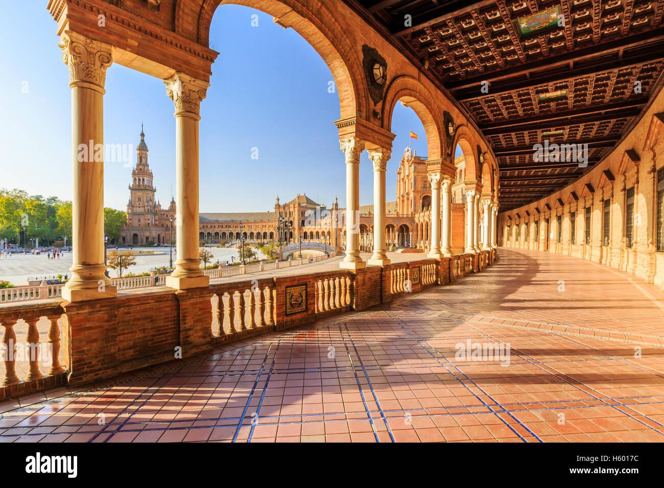 Sevilla, Spanien. Spanisch-Platz (Plaza de Espana) Stockbild