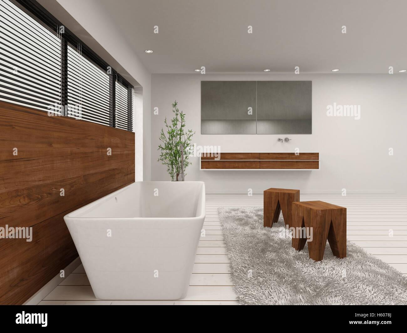 3D Rendering Des Luxus Badezimmer Mit Wanne, Hocker Und Holzwand Unter  Fenster Vorhänge