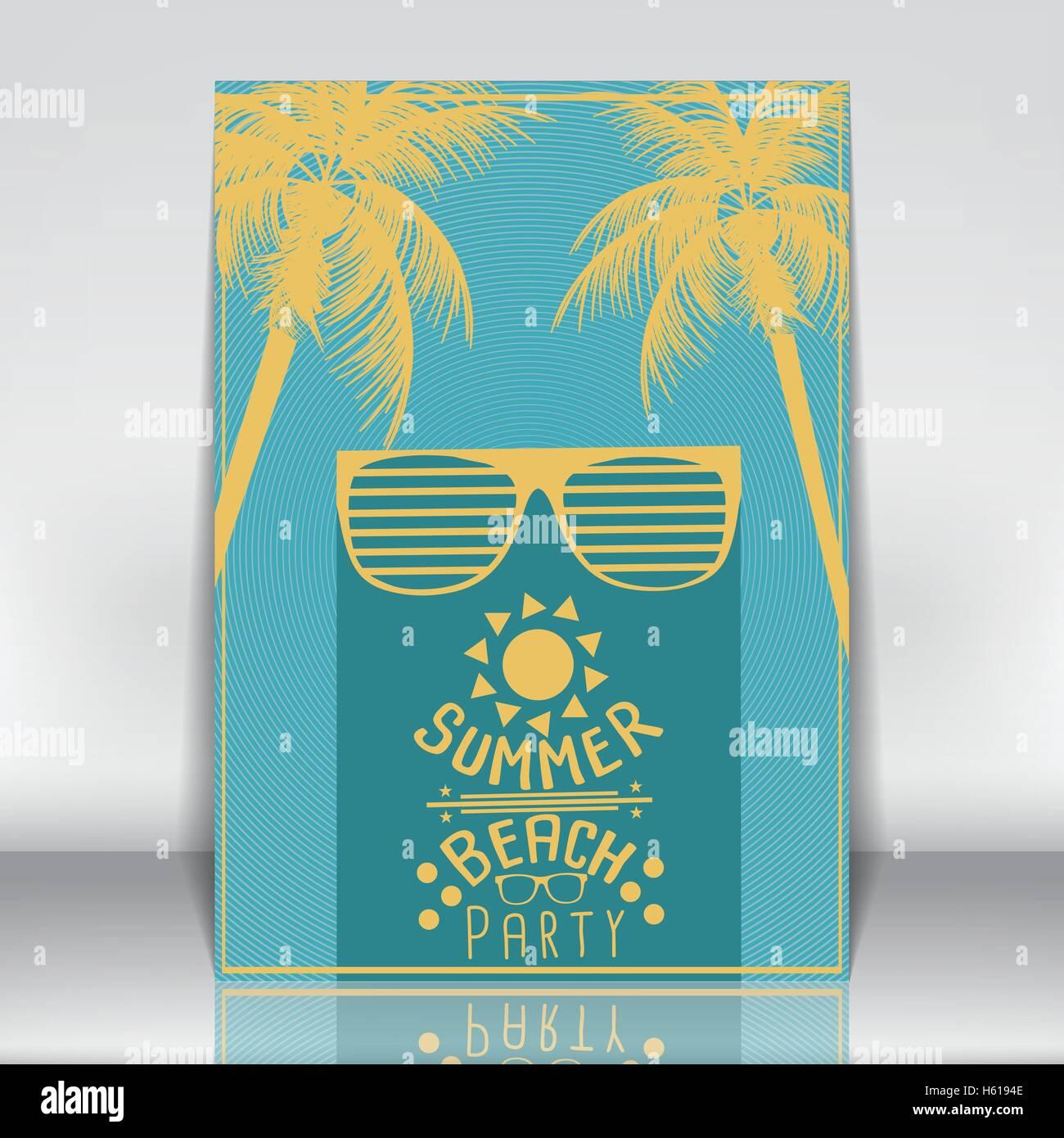 Minimale Wohnung Sommer Beach Party Flyer Vorlage mit Sonnenbrille ...