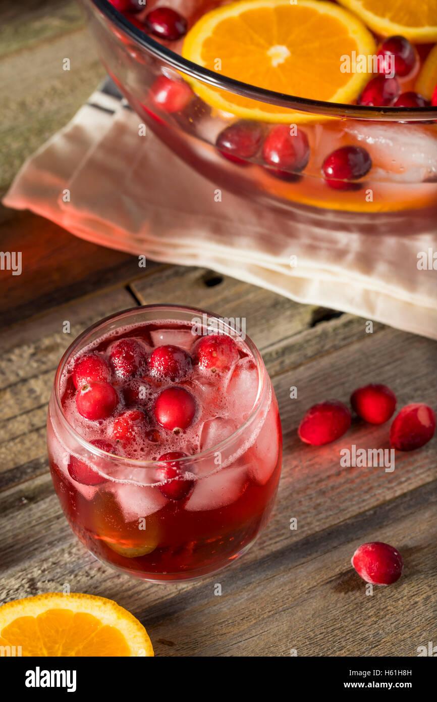 Rote Cranberry Weihnachtsgruß mit Orangenscheiben Stockbild