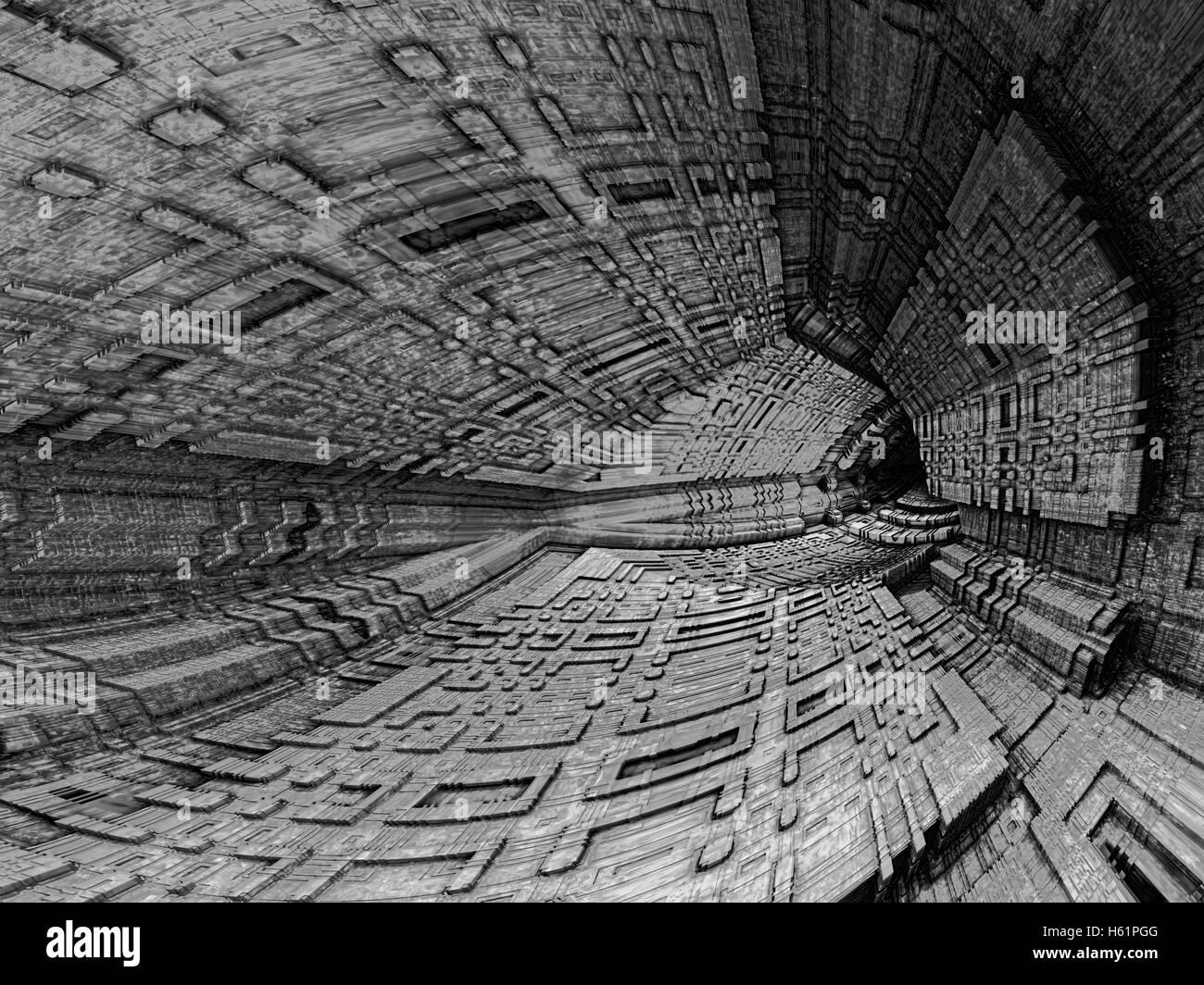Dunklen Höhle - abstrakt Digital erzeugte Bild Stockbild