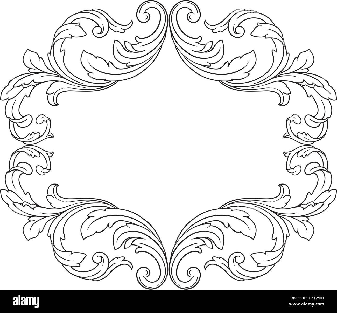 Vintage Barock-Rahmen Scroll Ornament Gravur Grenze Blumenmuster ...